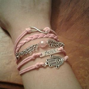 Jewelry - Pink HAMSA Hand Angel WingsInfinity Wrap Bracelet
